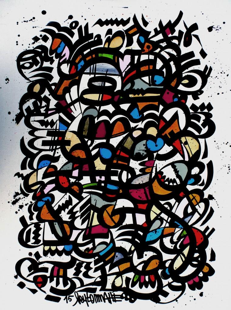 Sans-titre (DjN 02) 81 x 60 cm, encre et gouache sr toile, 2015