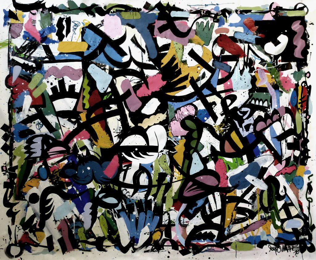 La jungle,202 x 166 cm, techniques mixtes sur toile, 2016