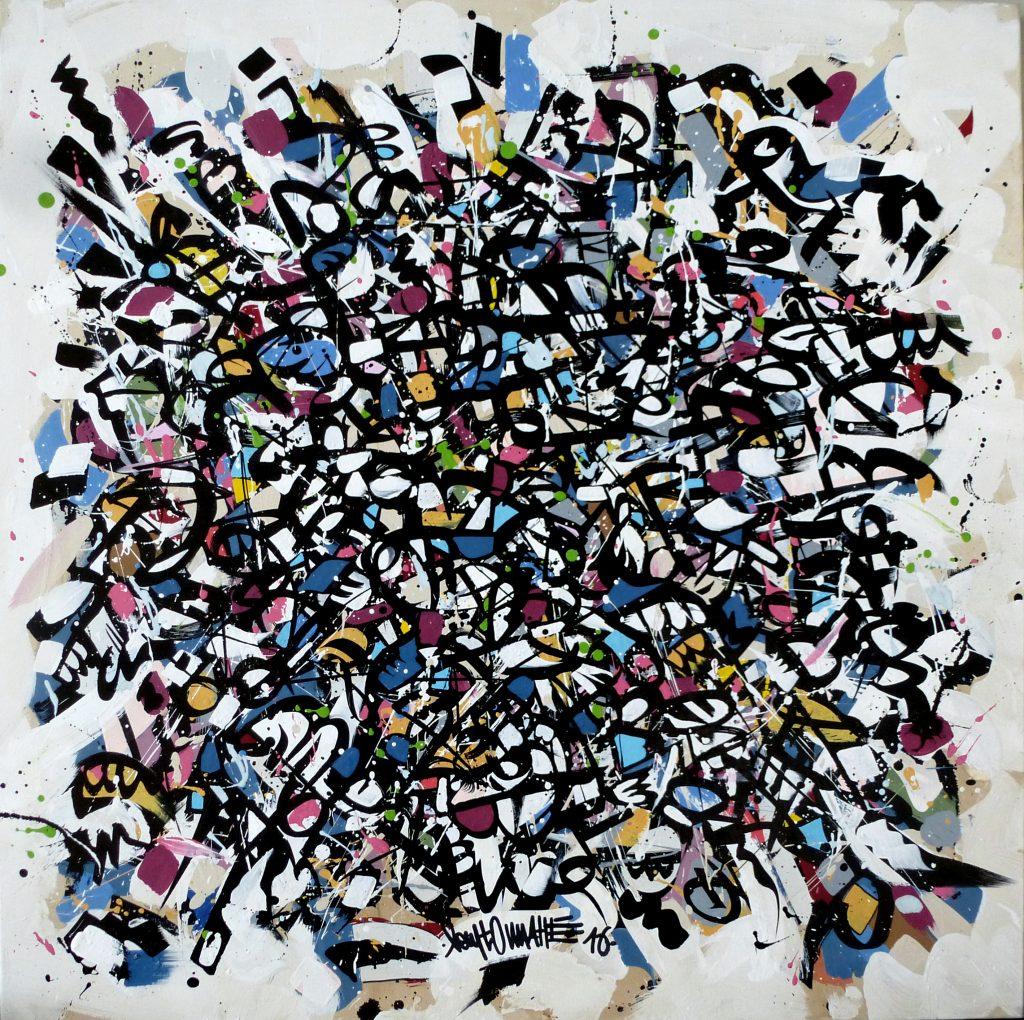 A Great Idea, 100 x 100 cm, techniques mixtes sur toile, 2016
